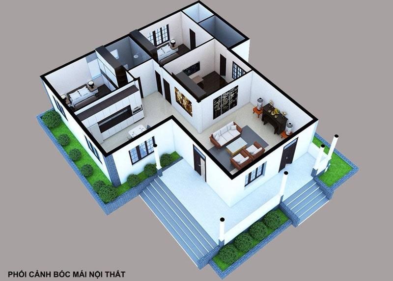thiết kế nhà cấp 4 100m2